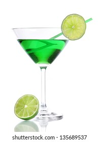 Green cocktail in martini glass isolated on white