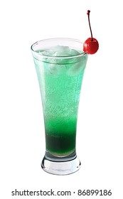 Green cocktail with red cherry on white background