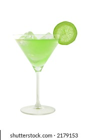 green cocktail with slice of lime and ice cubes isolated on white and clipping path included