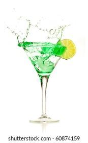 green cocktail splashing