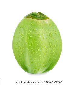 Green coconut with drops of water isolated on white background