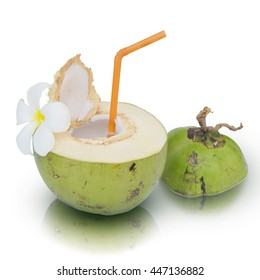 Green coconuts with drinking straw isolated on white background. This has clipping path.