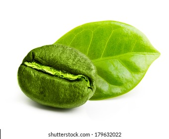 Green coffee bean with leaf isolated on white background.