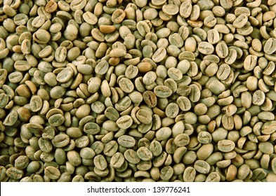 Green coffee beans, close up
