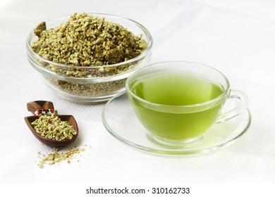 Green coffee tea and grits.