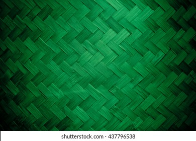 Green color Bamboo grass woven flat mat from natural bamboo  background