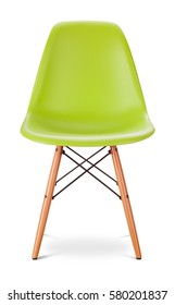Green color chair, modern designer, chair isolated on white background.