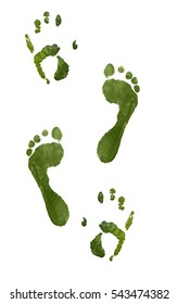 Green color footprint and handprint trail isolated on white background. Gouache.