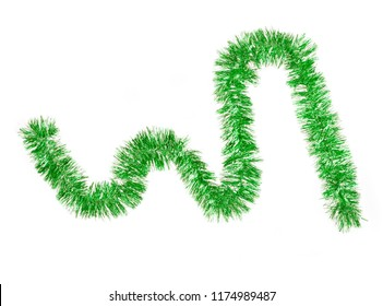Green color garland isolated on white background. Christmas decorations.