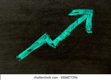 Green color hand drawing chalk in arrow upward shape on black board background (Concept of revenue increase, stock or business growth)
