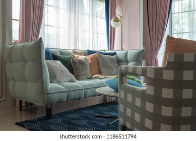 green color sofa classic style in living room, interior design concept decoration