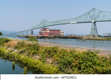 Green Colored Astoria-Megler Bridge Spanning the Columbia River connecting Oregon and Washington