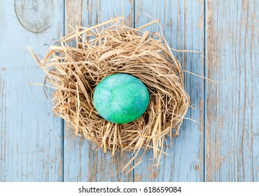 Green colored egg in a birdnest on blue wooden background