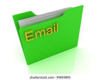 Green computer folder, yellow sign email