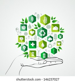 Green concept icons circle over palm design.