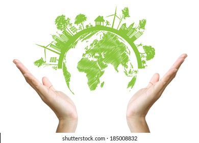 Green concept. Tree on the earth in hand