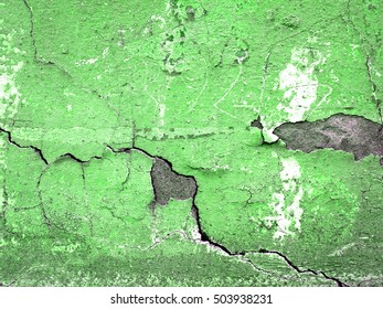 Green concrete crack wall texture background