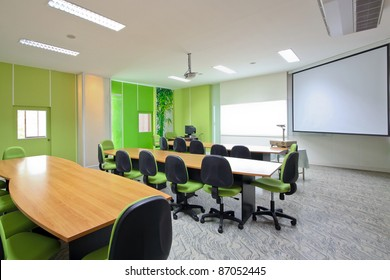 green conference room.
