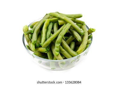 green cooked bean isolated in white background
