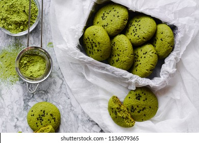 green cookies with japanese tea matcha