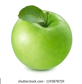 Green cooking apple isolated on white background. Package design element with clipping path