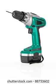 Green Cordless Drill. Isolated on white background.