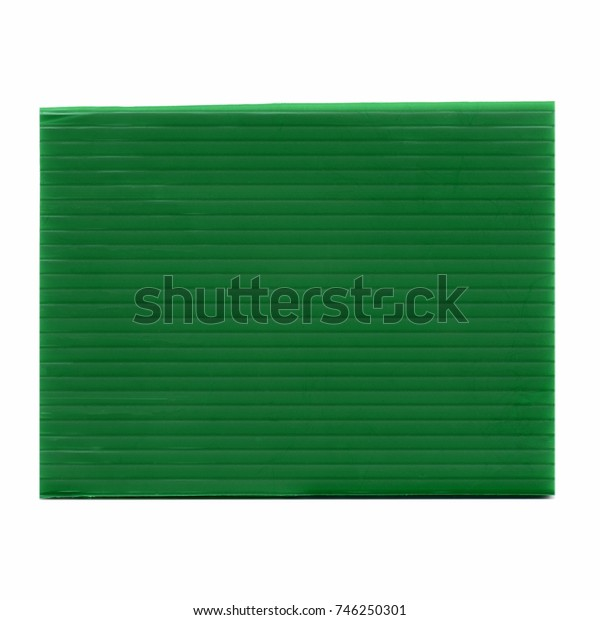 green corrugated polypropylene plastic texture useful as a background isolated over white