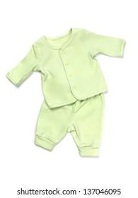 Green cotton baby pajama set isolated on white background