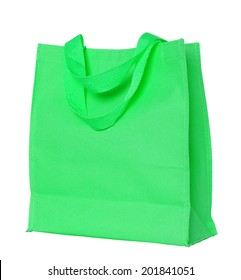 green cotton bag isolated on white with clipping path