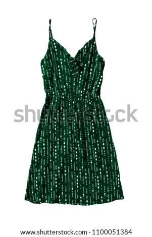 715a8e85187 Green Cotton Basic Mini Sundress On Stock Photo (Edit Now ...