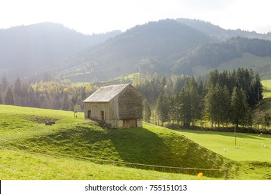Green countryside village landscape at Autumn in Switzerland