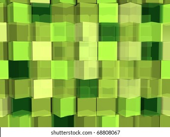 Green cube abstract background