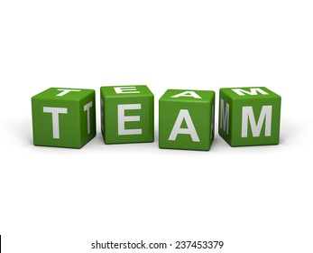 Green cubes with team sign on a white background