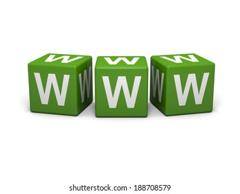 Green cubes with www letters on a white background