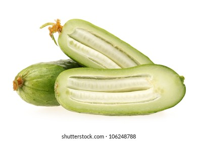 Green cucumber on the white background