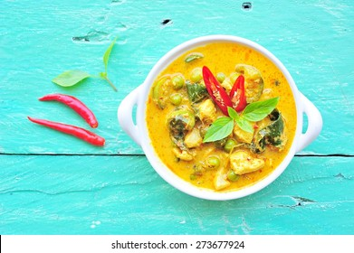 Green curry with chicken in bowl,Thai food.
