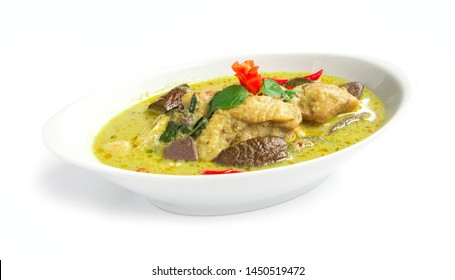 Green Curry Chicken in chili paste soup with coconut milk Thai Food sweet curry dish The best popular of food in Thailand side view