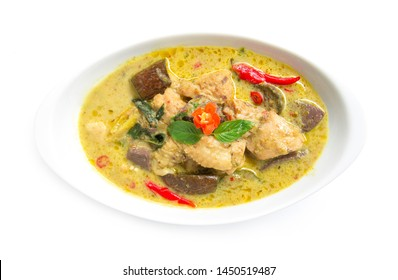 Green Curry Chicken in chili paste soup with coconut milk Thai Food sweet curry dish The best popular of food in Thailand top view