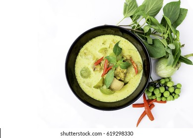 Green curry with green curry chicken, top view, white background
