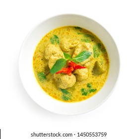 Green Curry with fish ball in sweet chili paste soup coconut milk Thai food curry style the best popular in Thailand top view