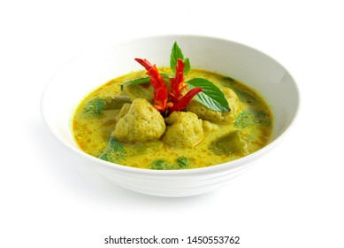 Green Curry with fish ball in sweet chili paste soup coconut milk Thai food curry style the best popular in Thailand side view