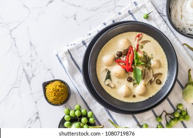 green curry with fish ball - Thai food