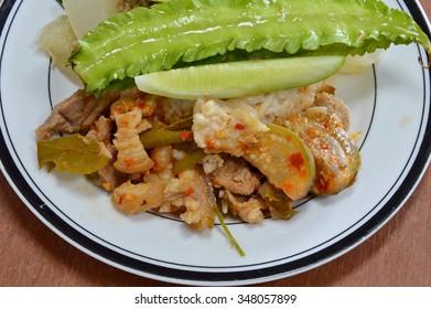 green curry pork leg with Thai herb on rice