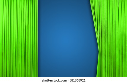 Green curtain on theater or cinema stage slightly open on blue background