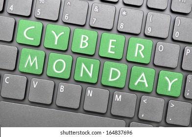 Green Cyber Monday on keyboard