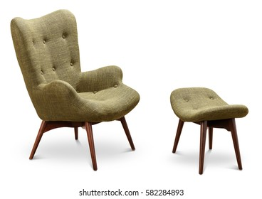 Green, dark green color armchair and small chair for legs. Modern designer armchair on white background. Textile armchair and chair. Series of furniture.