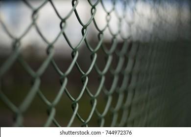 Green dark mesh fence closeup background