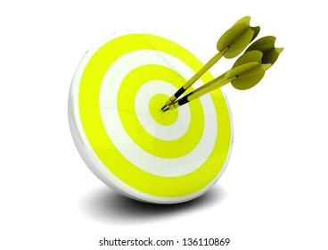 green darts on a bulls-eye