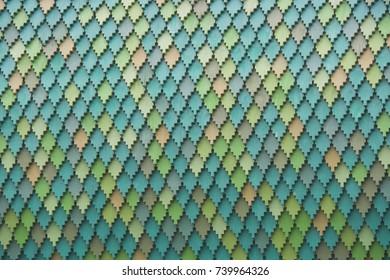 green decorative tiles on the roof