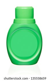 Green detergent container. Isolated on white
